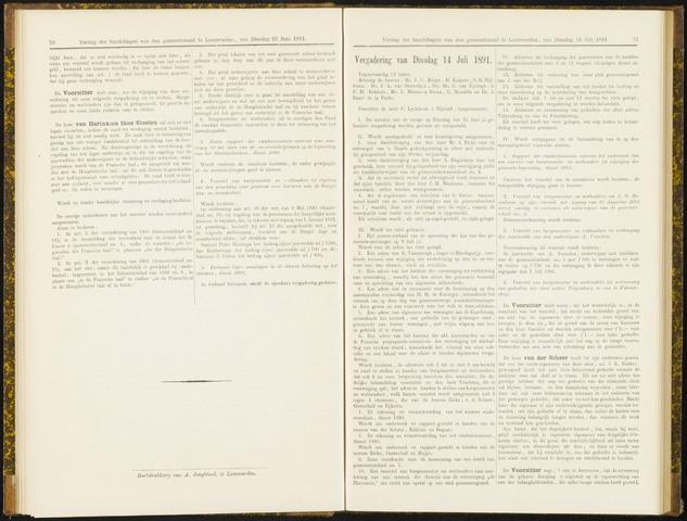 Raadsverslagen van de gemeente Leeuwarden, 1865-2007 (Notulen) 1891-07-14