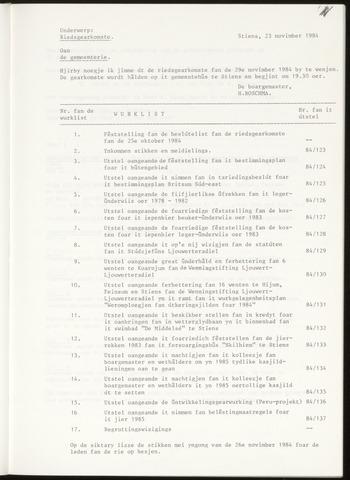 Notulen van de gemeenteraad van Leeuwarderadeel 1984-11-29