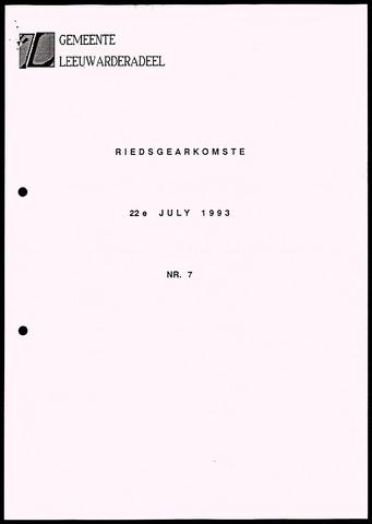 Notulen van de gemeenteraad van Leeuwarderadeel 1993-07-22