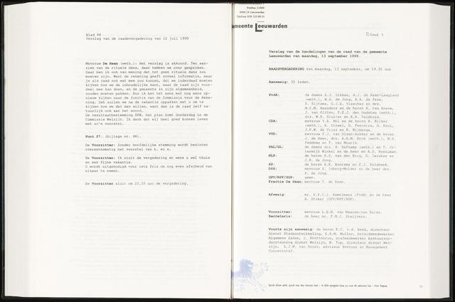 Raadsverslagen van de gemeente Leeuwarden, 1865-2007 (Notulen) 1999-09-13