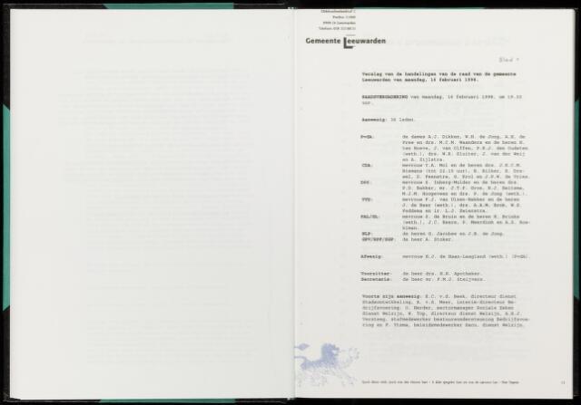 Raadsverslagen van de gemeente Leeuwarden, 1865-2007 (Notulen) 1998-02-16