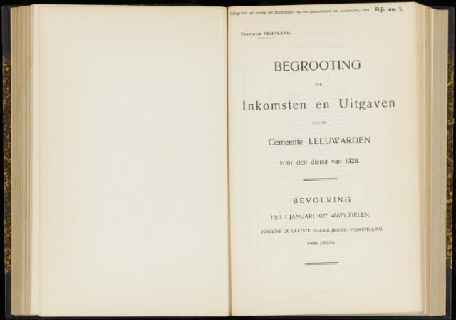 Raadsverslagen van de gemeente Leeuwarden, 1865-2007 (Bijlagen) 1928-01-01