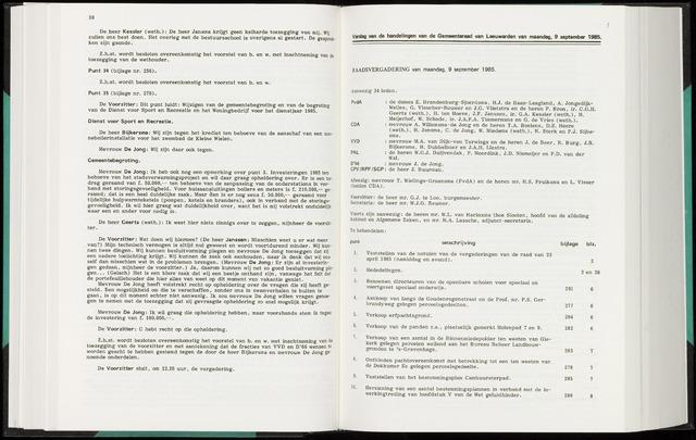 Raadsverslagen van de gemeente Leeuwarden, 1865-2007 (Notulen) 1985-09-09