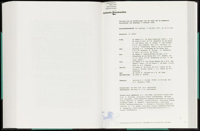 Raadsverslagen van de gemeente Leeuwarden, 1865-2007 (Notulen) 1995-10-09