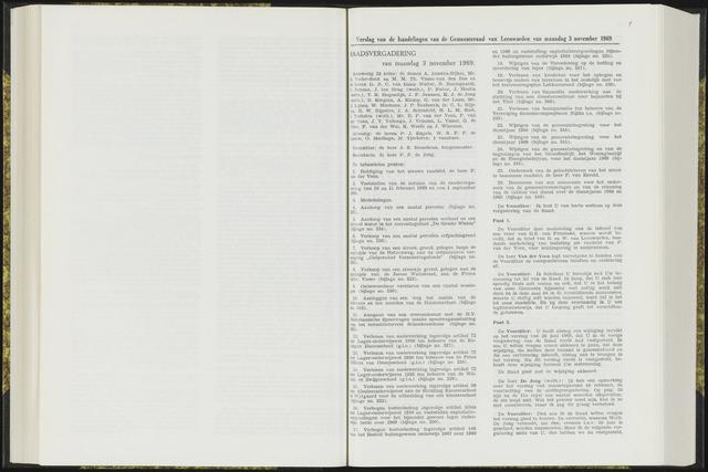 Raadsverslagen van de gemeente Leeuwarden, 1865-2007 (Notulen) 1969-11-03