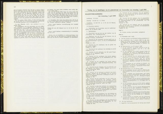 Raadsverslagen van de gemeente Leeuwarden, 1865-2007 (Notulen) 1959-04-01