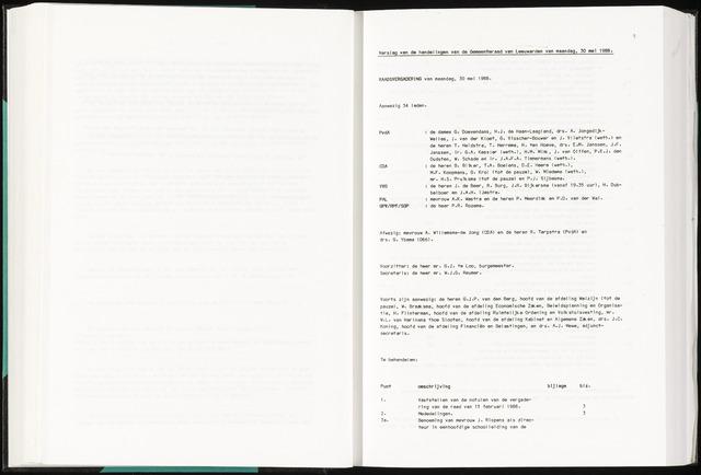 Raadsverslagen van de gemeente Leeuwarden, 1865-2007 (Notulen) 1988-05-30