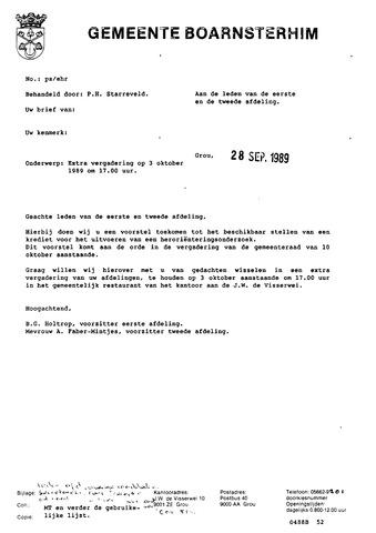 Boarnsterhim vergaderstukken gemeenteraad  1989-10-03