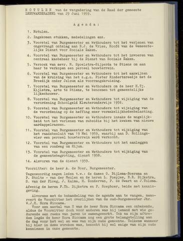 Notulen van de gemeenteraad van Leeuwarderadeel 1959-06-29