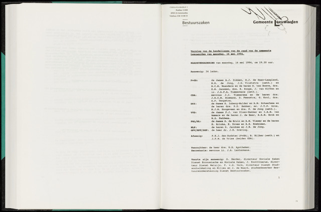Raadsverslagen van de gemeente Leeuwarden, 1865-2007 (Notulen) 1994-05-16