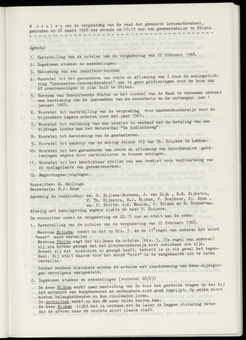 Notulen van de gemeenteraad van Leeuwarderadeel 1968-03-28