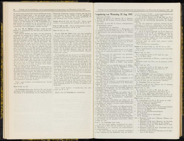 Raadsverslagen van de gemeente Leeuwarden, 1865-2007 (Notulen) 1947-08-20