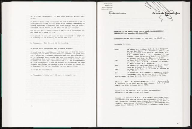 Raadsverslagen van de gemeente Leeuwarden, 1865-2007 (Notulen) 1992-06-29