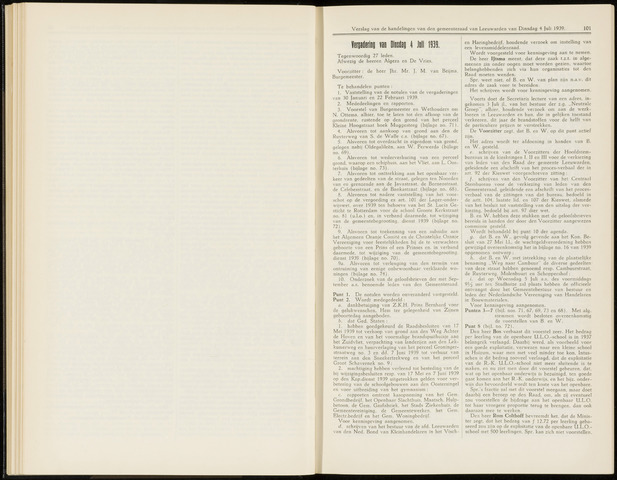 Raadsverslagen van de gemeente Leeuwarden, 1865-2007 (Notulen) 1939-07-04