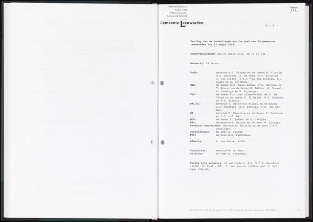 Raadsverslagen van de gemeente Leeuwarden, 1865-2007 (Notulen) 2004-03-22