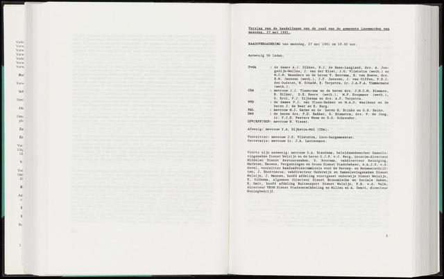 Raadsverslagen van de gemeente Leeuwarden, 1865-2007 (Notulen) 1991-05-27