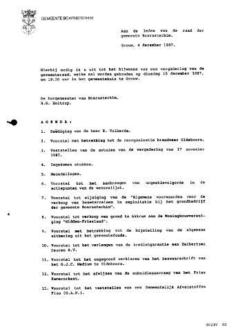 Boarnsterhim vergaderstukken gemeenteraad  1987-12-15
