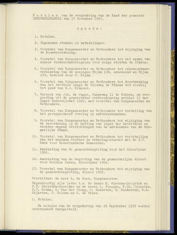 Notulen van de gemeenteraad van Leeuwarderadeel 1955-11-17