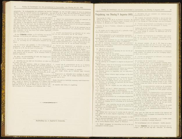 Raadsverslagen van de gemeente Leeuwarden, 1865-2007 (Notulen) 1892-08-09