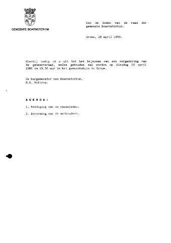 Boarnsterhim vergaderstukken gemeenteraad  1986-04-29