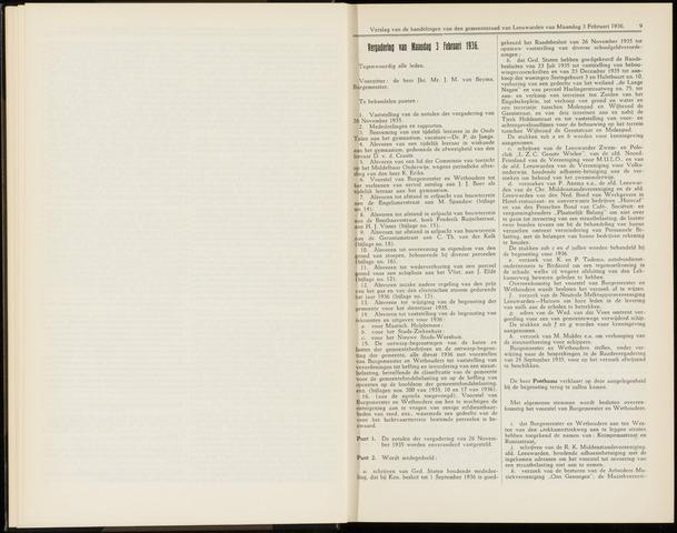 Raadsverslagen van de gemeente Leeuwarden, 1865-2007 (Notulen) 1936-02-03