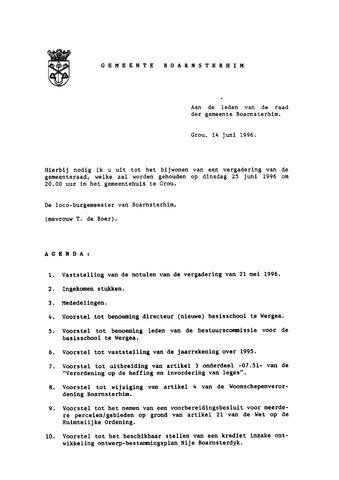 Boarnsterhim vergaderstukken gemeenteraad  1996-06-25