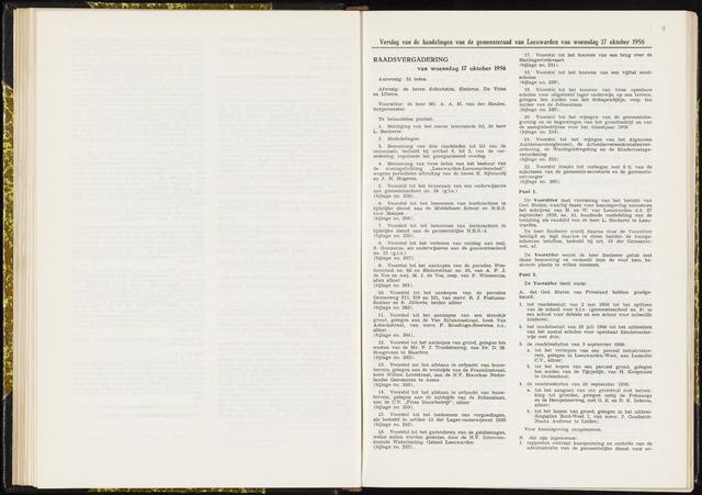 Raadsverslagen van de gemeente Leeuwarden, 1865-2007 (Notulen) 1956-10-17