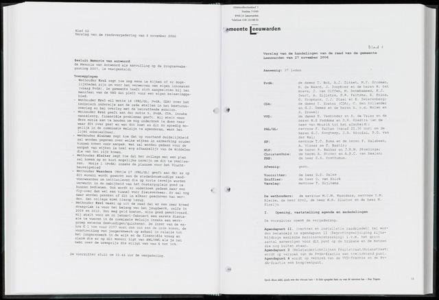 Raadsverslagen van de gemeente Leeuwarden, 1865-2007 (Notulen) 2006-11-27