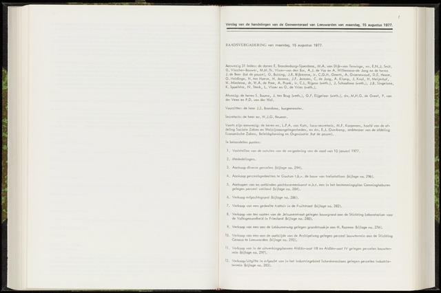 Raadsverslagen van de gemeente Leeuwarden, 1865-2007 (Notulen) 1977-08-15