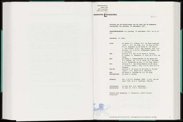 Raadsverslagen van de gemeente Leeuwarden, 1865-2007 (Notulen) 1997-09-22