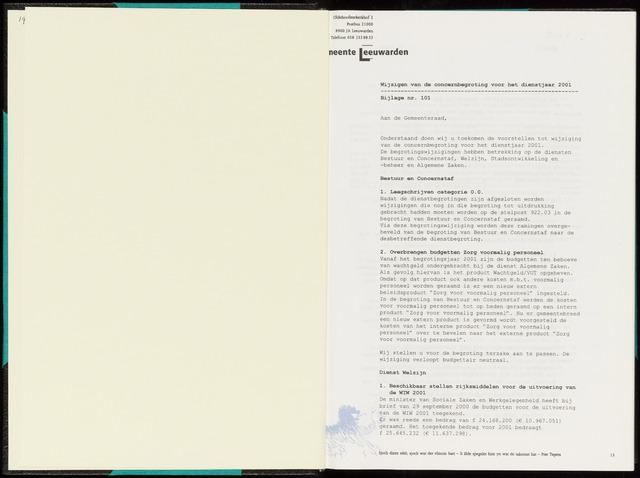 Raadsverslagen van de gemeente Leeuwarden, 1865-2007 (Bijlagen) 2001-01-01