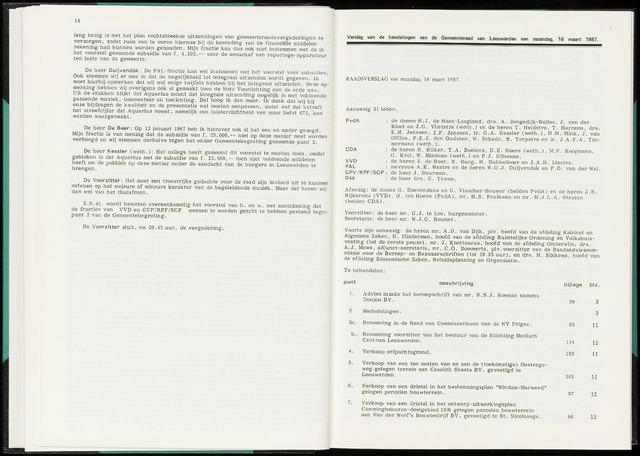 Raadsverslagen van de gemeente Leeuwarden, 1865-2007 (Notulen) 1987-03-16