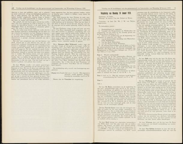 Raadsverslagen van de gemeente Leeuwarden, 1865-2007 (Notulen) 1939-01-30
