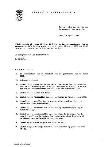 Boarnsterhim vergaderstukken gemeenteraad  1999-04-27