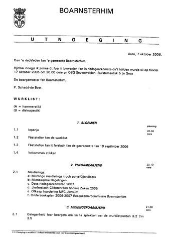 Boarnsterhim vergaderstukken gemeenteraad  2006-10-17
