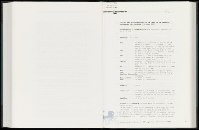 Raadsverslagen van de gemeente Leeuwarden, 1865-2007 (Notulen) 2002-10-02