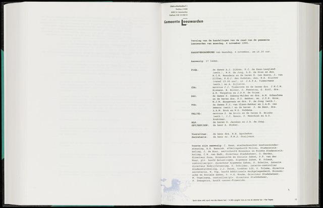 Raadsverslagen van de gemeente Leeuwarden, 1865-2007 (Notulen) 1996-11-04