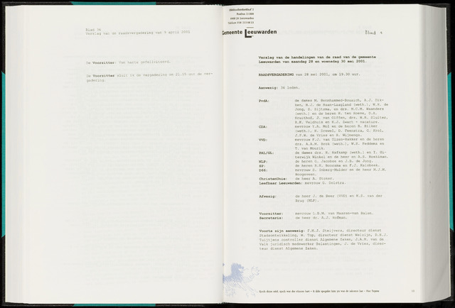 Raadsverslagen van de gemeente Leeuwarden, 1865-2007 (Notulen) 2001-05-28