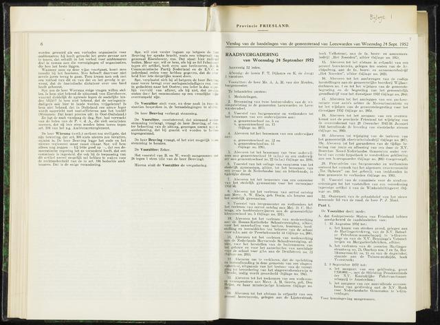 Raadsverslagen van de gemeente Leeuwarden, 1865-2007 (Notulen) 1952-09-24