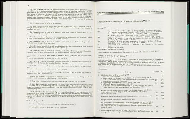 Raadsverslagen van de gemeente Leeuwarden, 1865-2007 (Notulen) 1985-12-16