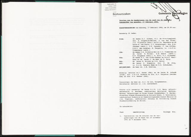 Raadsverslagen van de gemeente Leeuwarden, 1865-2007 (Notulen) 1992-02-17