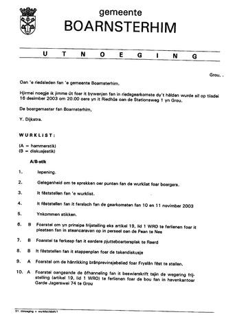 Boarnsterhim vergaderstukken gemeenteraad  2003-12-16