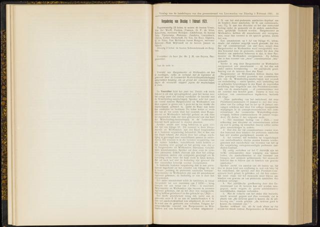 Raadsverslagen van de gemeente Leeuwarden, 1865-2007 (Notulen) 1921-02-01