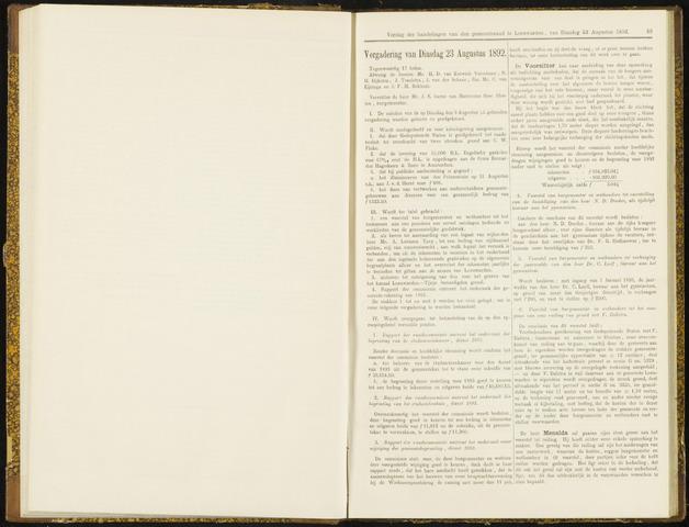 Raadsverslagen van de gemeente Leeuwarden, 1865-2007 (Notulen) 1892-08-23