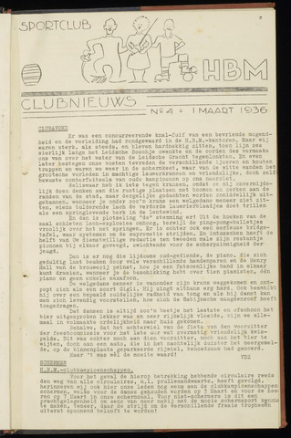 Sportclub H.B.M. Clubnieuws 1936-03-01