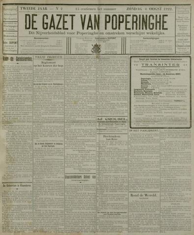 De Gazet van Poperinghe  (1921-1940) 1922-08-06