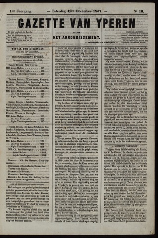 Gazette van Yperen (1857-1862) 1857-12-12