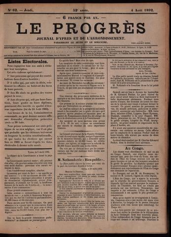 Le Progrès (1841-1914) 1892-08-04