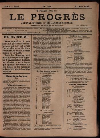 Le Progrès (1841-1914) 1892-08-25