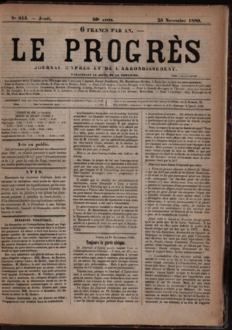 Le Progrès (1841-1914) 1880-11-25